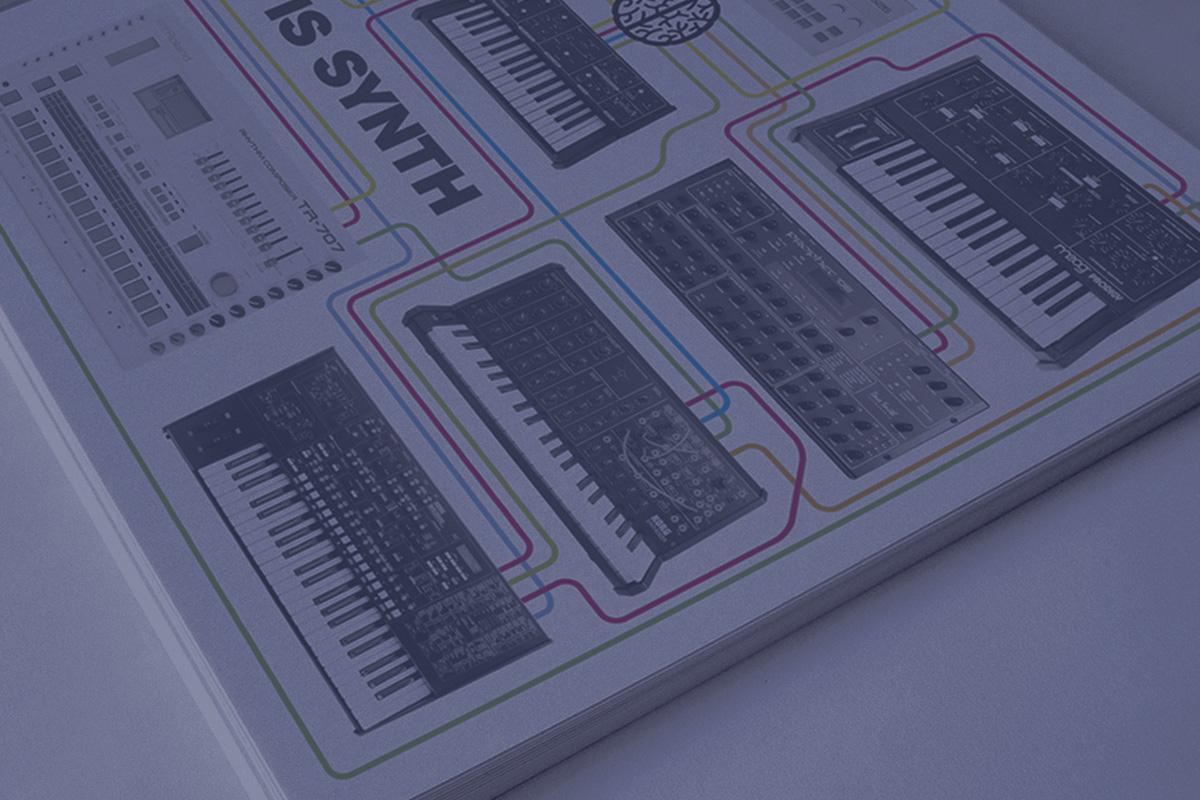 Открытка Synth Room для студии звукозаписи